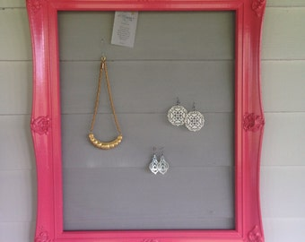 Glossy coral jewelry frame display organizer made from upcycled and repurposed ornate frame