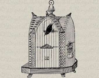 Birdcage Bird Cage and Birds Animal Art Wall Decor Art Printable Digital Download for Iron on Transfer Tea Towel Fabric Pillows DT727