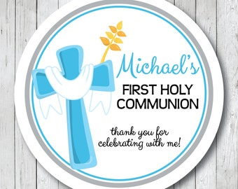 First Communion Cross Stickers . Personalized First Holy Communion Favor Tags or Labels, Communion Thank You Stickers