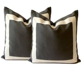 Decorative Pillow Cover Charcoal Gray Cotton Canvas Grosgrain Ribbon Border-