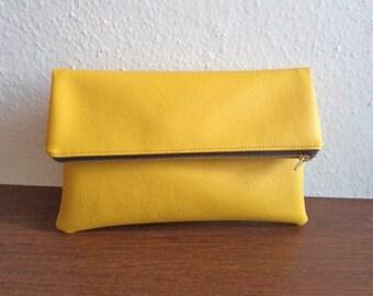 Yellow clutch bag, foldover clutch purse