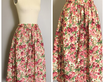Mid Length Floral Skirt, Gloria Sachs Floral 1980s Skirt - Calico Skirt