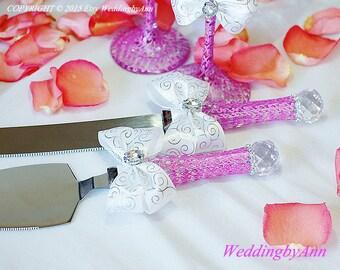 Fuchsia Wedding Cake Serving Set- Wedding Cake and Knife Serving Set- Wedding Cake Accessories, wedding gift, Bridal shower