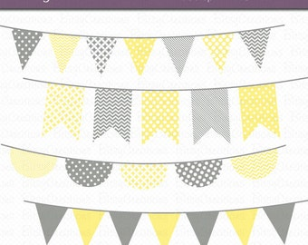 Yellow and Gray Bunting Clipart Digital Art Set Banner Flag INSTANT DOWNLOAD Banner Clipart Bunting Clipart