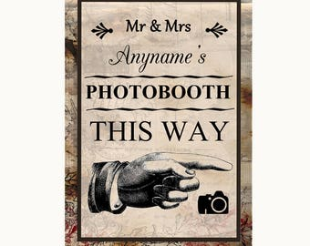 Vintage Photobooth This Way Right Personalised Wedding Sign