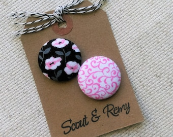 Needle Minder, Flowers, Pink, Black, 2 Piece Reversible Needleminder, for Cross Stitch, Sewing, Embroidery, Needlepoint, Quilting