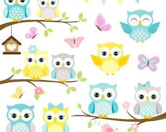 Owls Clipart 'CUTE OWL CLIPART' Digital Owls Clipart. Baby Shower Clipart. Yellow Owls. Owl Clipart. Owl Birthday Invitation. Shower Clipart
