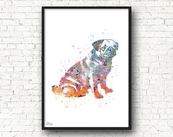 Pug dog print dog art print, illustration, animal dog poster, wall art, birthday gift idea, wedding