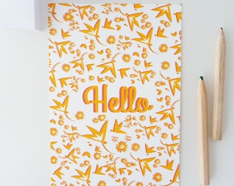 """Hello"" illustrated postcard of flowers"