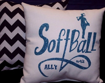 PERSONALIZED SOFTBALL PILLOW personalized with Name & # on pillow - team discounts offered