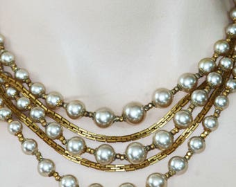 Vintage HASKELL Glass Pearl 5-Strand Necklace Pearl Clasp Filigree Russian Gold Chain Designer Signed Quality Construction Mid Century