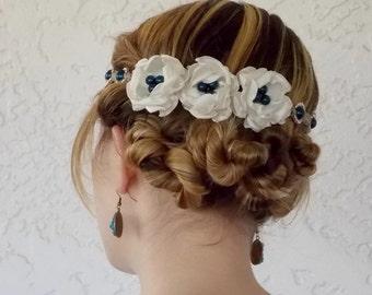 Blue flower hair accessory, headband, floral wreath, tiarra, halo, hair flowers, bridal hair piece, head piece, wedding hair flower headband