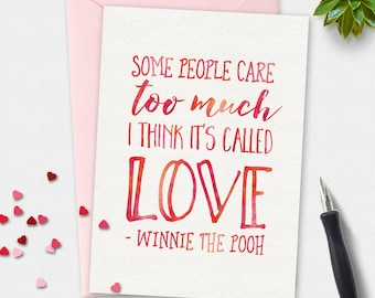 Printable Card, Winnie the Pooh quote, love card, greeting card, love card, valentines card, watercolor card,  Valentines day, Disney quote