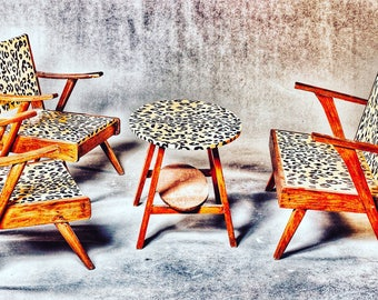 Retro Upcycled Lepoard Print Living Room Furniture Set