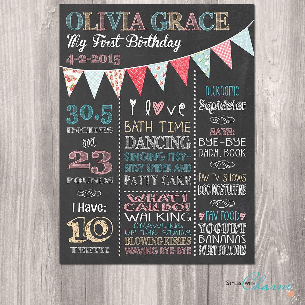 Shabby Chic Birthday Board First Birthday Chalkboard Girl