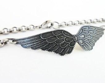 Steampunk Angel Wings Bracelet Sterling Silver Ox Finish