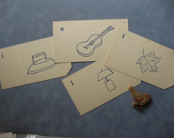 Vintage Picture Flash Cards, 4 Cards, Iron, Lamp, Leaf, Ukulele, Manila Cardstock