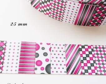 Stripe checkered pink & Black 25 mm white polka dot grosgrain Ribbon sold by 50 cm