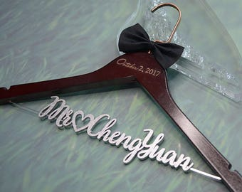 Personalized Wedding Hanger with Date | Bridal Shower Gift | Custom Bride Hanger Laser Cut | Gift for Her | Wedding Shower Gift for Bride