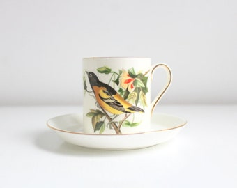 Demitasse Teacup, Bird Teacup, Bird Demitasse, Teacup & Saucer Teacup Set White Teacup Set Vintage Teacup Vintage Demitasse Baltimore Oriole