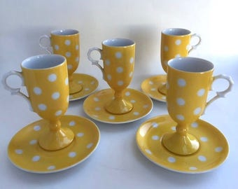 Groovy Set of Five Yellow Polkadot Coffee Cups and Saucers