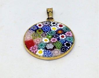 Vintage Italian Millefiori Art Glass Pendant, 925 Sterling Silver Vermeil Gold Wash,Vintage Italian Millefiori, Art Glass Pendant