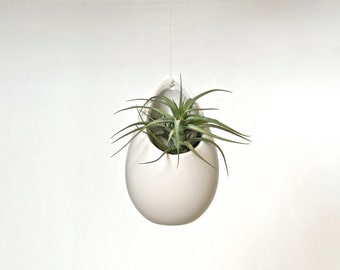 White Ceramic Hanging Planter, White Hanging Vase, White Ceramic Vase,  White Vase,