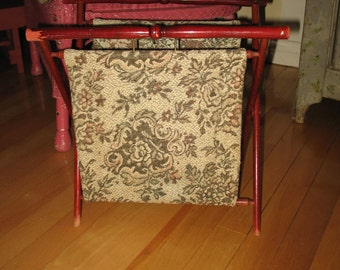 Sewing or knitting fabric and wood folding basket.