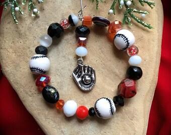 BASEBALL TEAM COLORS Wreath Ornament-Baseball Themed Charm Choice-Sports Xmas -Your Team Colors-Christmas Ornament-Baseball-Handmade Hanger