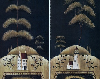 "Set of 2 Saltbox, Sheep Farm, Lighthouse Primitive Folk Art Prints by Donna Atkins. 4"" x 10"""