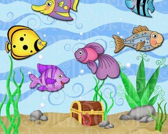 Under the Sea Digital Clip Art Set -Personal and Commercial- Fish, Sea, Ocean, Fish Tank, Aquarium, Treasure Chest, Instant Download