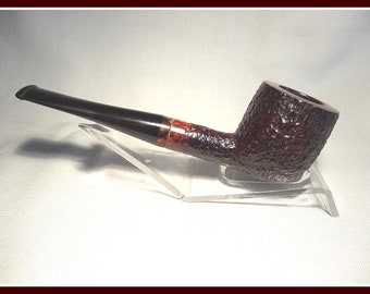 Beautifully Restored London Made Pot, Rusticated with smooth Briar and Tortoise Shell Banding