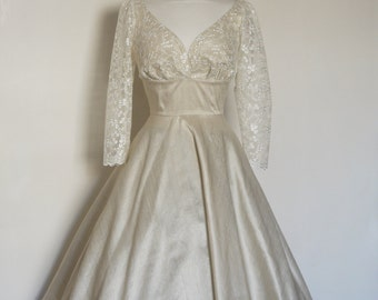 Champagne Silk Dupion Lace Sweetheart Wedding Dress with Circle Skirt - Made by Dig For Victory
