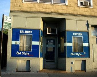 Chicago Photo, Belmont Tavern, Chicago Photography, Chicago Art, bar, Avondale, tavern, vintage bar, blue, dive bar, beer, hipster, street