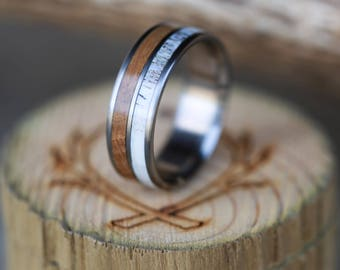 Whiskey Barrel and Antler Wedding Band for Men in 2 Channels - Staghead Designs