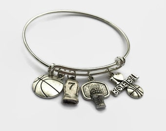 Basketball  - Basketball Charm Bracelet - Basketball Player Gift - Basketball Coach - Coach Gift - Mothers Day  - Gift for Mom - Charm