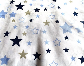 Fabric coupon-star 50 x 70 cm Blue and taupe