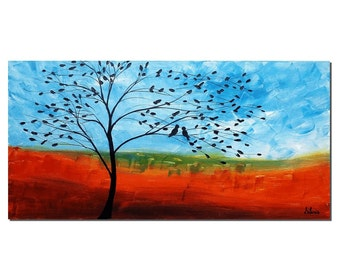 Love Birds Painting, Canvas Art, Canvas Painting, Original Oil Painting, Abstract Art, Oil Painting, Wall Art, Abstract Painting, Large Art