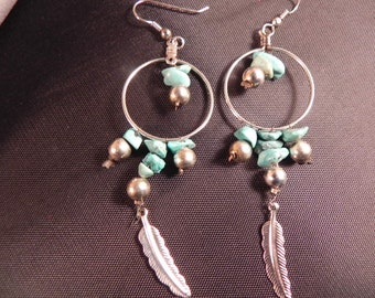 Handcrafted Dangle Earrings  Silver Hoop With Turquoise Chips and Feather Fish Hook  Wires