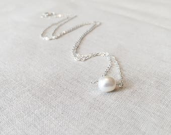Simple Freshwater Pearl Drop Necklace - 925 Sterling Silver Wire Wrapped Single Genuine White Pearl Solitaire Necklace Bridal Wedding Gift