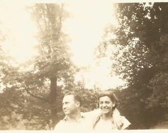 "Vintage Snapshot ""Shy Boyfriend"" Smiling Girlfriend Man Turns Away From Camera Found Vernacular Photo"