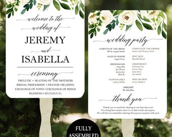 Wedding Program Fans Printable or Printed/Assembled with FREE Shipping - Elegant Floral in White Collection
