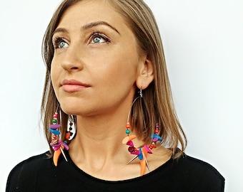 Earrings Silver Hoop Wood Bead Earrings  Earrings Light Earrings Boho earrings  Summer Hoops Colorful Earrings Silver Beaded Hoop