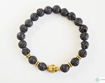 Black Lava bead & Buddha head bracelet
