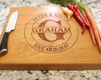 Personalized Chopping Block 12x15x1.75 - Cutting Board, Wedding Gift, Housewarming Gift, Anniversary Gift, Engagement W-016 GB