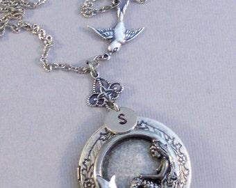 Mermaid's Sparrow,Locket,Mermaid Necklace,Mermaid Locket,Mermaid Jewelry,Handmade Mermaid Locket,Siren Locket,Hand STamped,Bird Locket