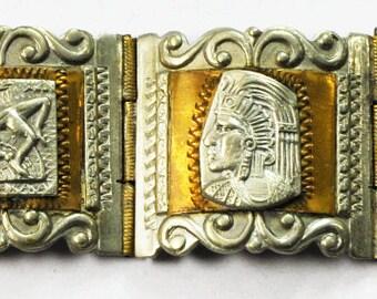 "Mexico 925 Silver Two Tone Aztec Bangle Link Bracelet Eagle Calendar 28mm 8"""
