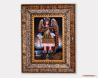 "Peruvian Large Wall Art 'Archangel Michael'- Cuzco Painting on Wood 35.4""x28""- Painted Art Glass Frame - Religious & Spiritual Paintings"