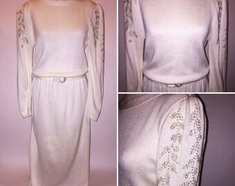 Vintage 1980s 80s Winter White Maxi Sweater Dress Silver Glitter Shoulder Sleeves Size Medium