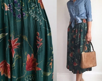 Vintage Floral Midi Skirt with Pockets, Size Extra Small to Small, Floral Midi Skirt, 90s Skirt